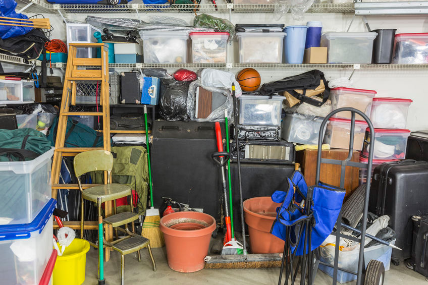 messy garage in need of clean up